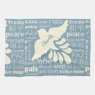 PEACE in languages custom name hand towel
