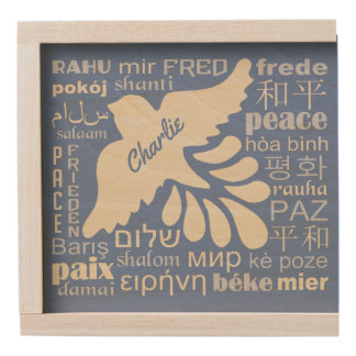 PEACE in many languages custom name gift box