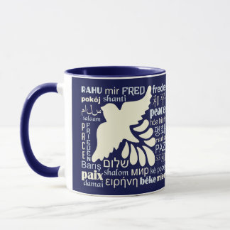 PEACE in many languages custom name mugs