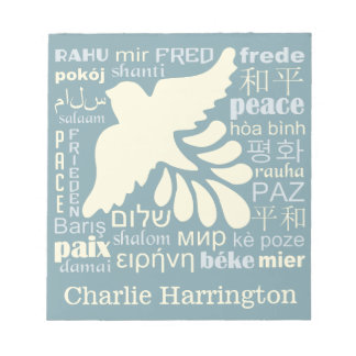 PEACE in many languages custom name notepads