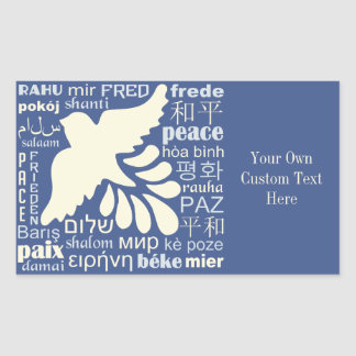 PEACE in many languages custom stickers