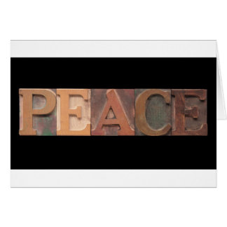 peace in wood type card