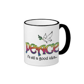 Peace: It's Still A Good Idea - Dove and Rainbow Ringer Coffee Mug