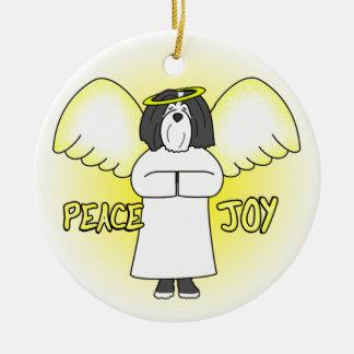 Peace Joy Angel BW Havanese Christmas Ornament