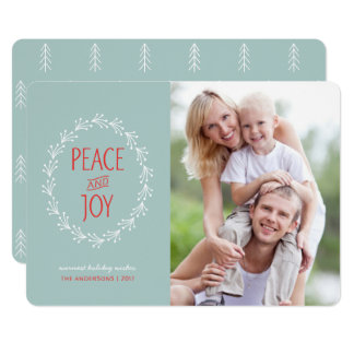 Peace & Joy Boho Christmas Berry Wreath | Blue Card