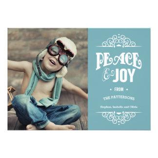 Peace Joy Christmas Holiday Photo Card Teal
