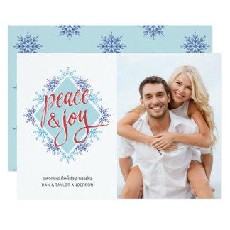 Peace & Joy Handwriting over Watercolor Snowflakes Card