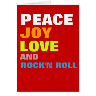 Peace joy love and rock'n roll greeting card