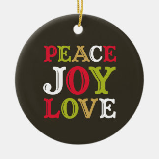 PEACE JOY LOVE block letter holiday keepsake photo Ceramic Ornament