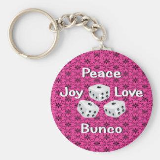 peace,joy,love,bunco basic round button keychain