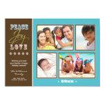 "Peace-Joy-Love Family Holiday Photocard (aqua) 5"" X 7"" Invitation Card"
