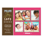 "Peace-Joy-Love Family Holiday Photocard (fuchsia) 5"" X 7"" Invitation Card"