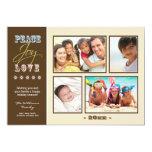 """Peace-Joy-Love Family Holiday Photocard (ivory) 5"""" X 7"""" Invitation Card"""