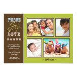 "Peace-Joy-Love Family Holiday Photocard (olive) 5"" X 7"" Invitation Card"