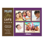 "Peace-Joy-Love Family Holiday Photocard (purple) 5"" X 7"" Invitation Card"