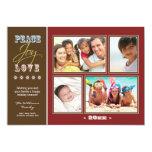 "Peace-Joy-Love Family Holiday Photocard (red) 5"" X 7"" Invitation Card"