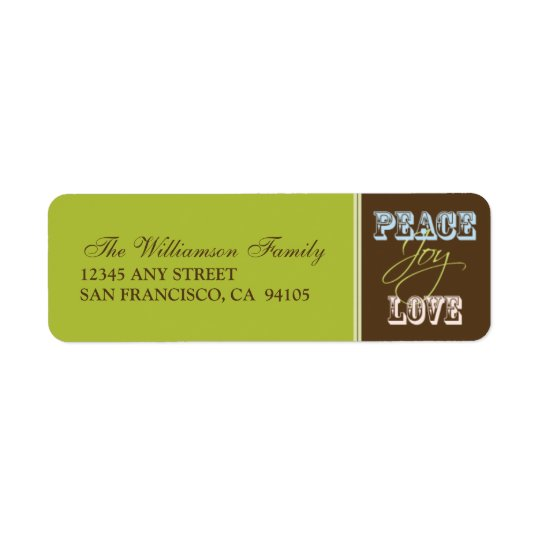 Peace-Joy-Love Holiday Address Labels (lime)