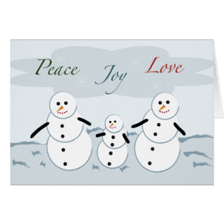 Peace Joy Love Holiday Snowmen Card