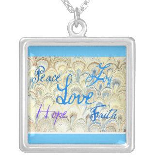 PEACE JOY LOVE HOPE FAITH SOFT BLUE WATERCOLOR CUSTOM NECKLACE