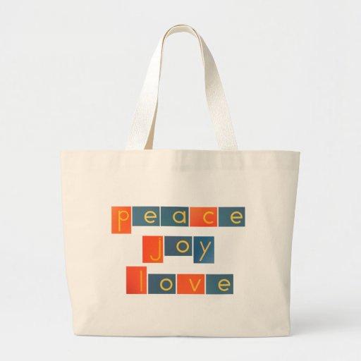 PEACE JOY LOVE Sandpaper Letters Canvas Bag