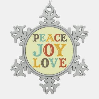 Peace Joy Love western cream typography hip Ornaments