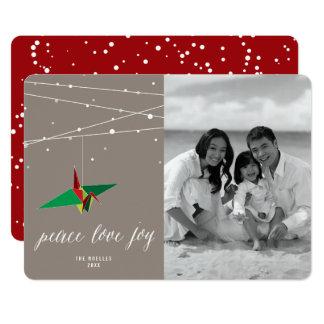 Peace & Joy Origami Paper Crane Holiday Photo Card