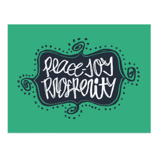 Peace Joy Prosperity hand-drawn New Year's Postcard