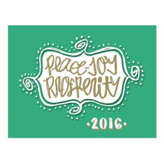 Peace, Joy, Prosperity Happy New Year 2016 Postcard