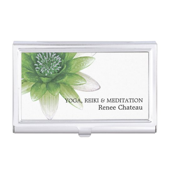 Peace l Beautiful Green Lotus Flower/Water Lily Business Card Case