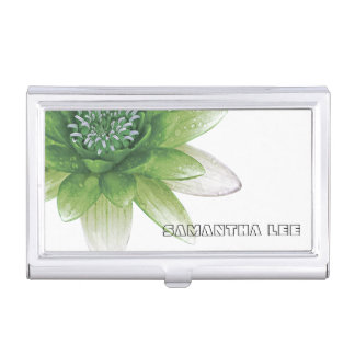 Peace l Beautiful Green Lotus Flower/Water Lily Business Card Holder
