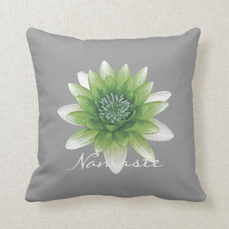 Peace l Beautiful Green Lotus Flower/Water Lily Throw Pillow