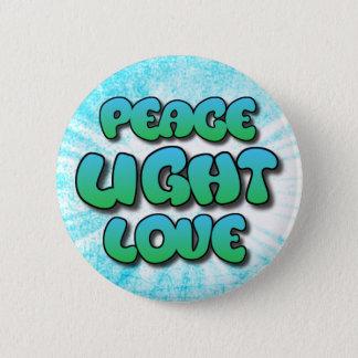 Peace Light Love Pretty Blue  Inspirational Button