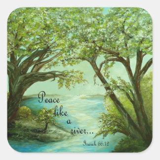 Peace  Like a River Square Sticker