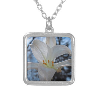 Peace Lily Silver Plated Necklace