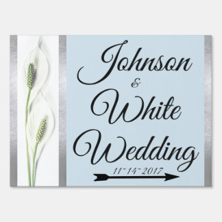 Peace Lily Wedding Day Silver Blue Yard Sign Bride