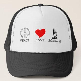 peace love3 trucker hat