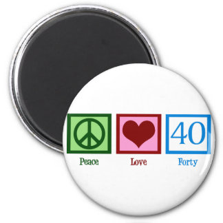 Peace Love 40 2 Inch Round Magnet