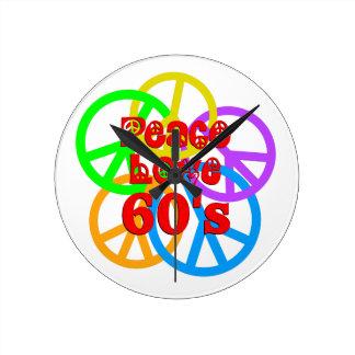 Peace Love 60s Wallclocks
