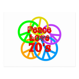 Peace Love 70s Postcard
