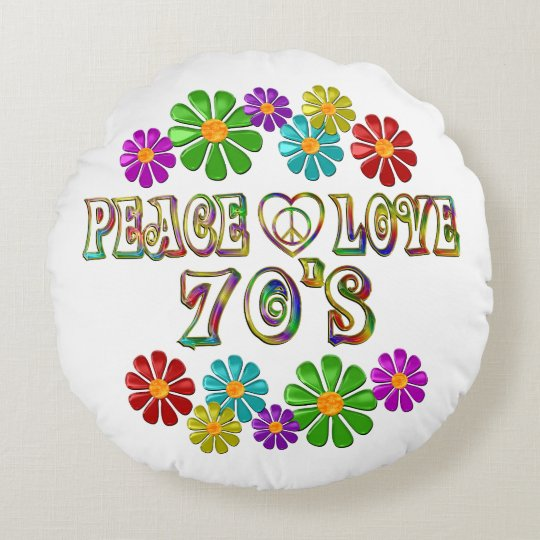 Peace Love 70s Round Pillow