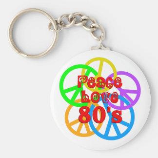 Peace Love 80s Basic Round Button Keychain