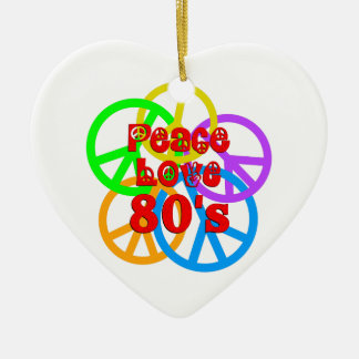 Peace Love 80s Ceramic Heart Ornament
