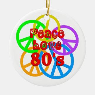 Peace Love 80s Round Ceramic Ornament