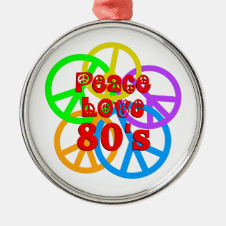 Peace Love 80s Silver-Colored Round Ornament