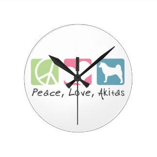Peace Love Akitas Round Clock