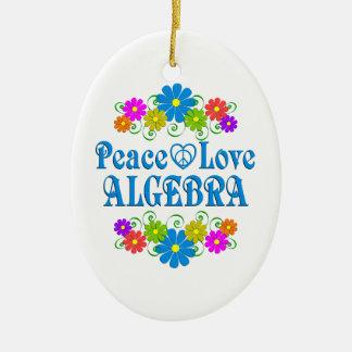Peace Love Algebra Ceramic Oval Ornament