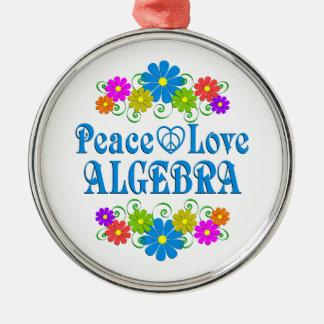 Peace Love Algebra Silver-Colored Round Ornament