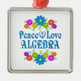 Peace Love Algebra Silver-Colored Square Ornament