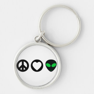 Peace Love Alien Silver-Colored Round Keychain