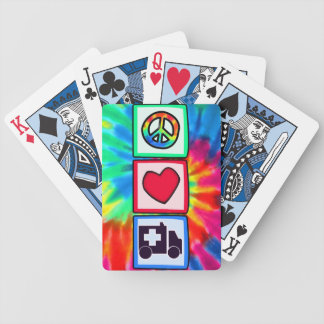 Peace, Love, Ambulance Bicycle Playing Cards